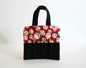 Baseball Crayon Holder, Crayon Tote, Activity Tote, Busy Bag, Art Supply Bag,  Child Purse,  Travel Bag, Summer Roadtrip Bag
