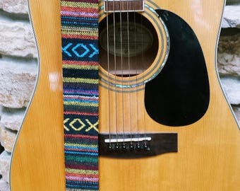 World Traveler Threaded Guitar Strap; Statement Guitar Strap; Unique Custom Guitar Straps; Handmade Straps; Gift for Her; Guitar Straps