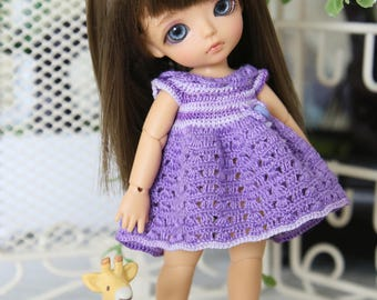 "Dress ""Lilac summer"" for pukipuki/ lati white SP body/Felix brownie/obitsu11"