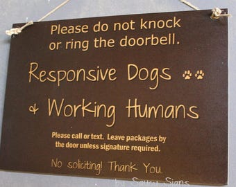 Black Responsive Dogs Working Humans Do Not Knock Warning No Soliciting Door Sign