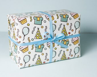 Birthday Icon Wrapping Paper, Celebration Wrapping Paper, Modern Gift Wrap, Birthday Gift Wrap, Kids Birthday Wrapping Paper,
