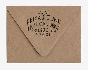 Crescent - Custom Hand Lettered Return Address Stamp