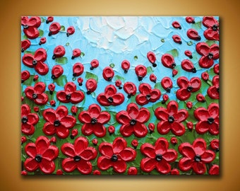 Red Poppy painting 8x10 red floral art Red poppies decor Textured flowers art Original painting floral landscape Impasto art red flowers art