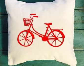 Bicycle Throw pillow, Bike cushion, bicycle decor