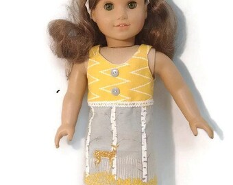 "Dress for any 18"" dolly like the America girl doll Gray and Yellow"