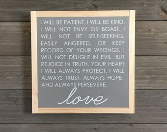 Love is patient, wood sign, modern farmhouse decor
