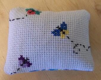 Hancrafted cross stitch Maine Balsam Sachet