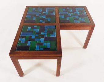 Brown Saltman L-Shaped Tiled Walnut Corner Table