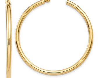 14K Yellow Gold Round Hoop Earrings 35mm x 2mm CKLT913
