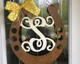 Horseshoe door hanger, door hanger, country door hanger, horseshoe, country decor, horse decor