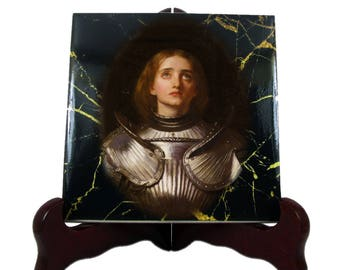 Saint Joan of Arc - St Joan of Arc icon on tile - St Joan of Arc art - The Maid of Orléans - gift for soldier - soldier gift - Jeanne d'Arc