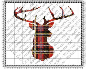 Winter Plaid Deer Edible Cake or Cupcake Toppers - Choose Your Size
