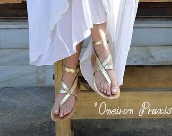 Gold Leather Sandals,Ancient Greek Sandals,Thong Sandals,Luxury Leather Sandals,Mythology inspired Sandals,Greek sandals,Women Sandals