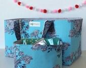 Blue Grey & White Floral Craft Storage Caddy. Trendy Room Decor. Office Organizer. Bible Journaling Supplies Gift For Her Under 50.