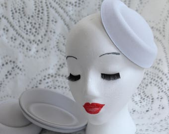 White Oval Stewardess Hat Base / Hat Base / Felt Hat Base / Fascinator Base / DIY Fascinator