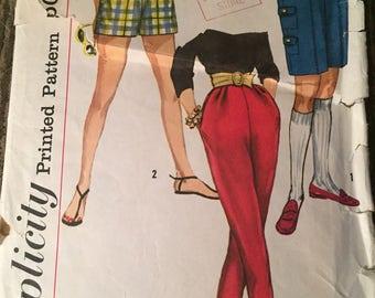 Vintage 60's Simplicity Pants & Shorts Sewing Pattern: Sz; 14