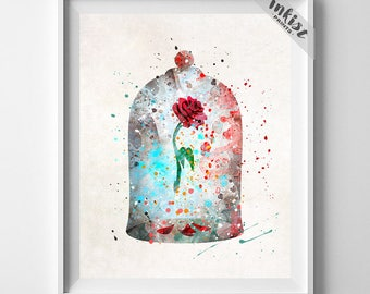 Cursed Rose Print, Beauty And The Beast, Enchanted Rose, Watercolor Art, Disney Poster, Baby Wall Decor, The Enchanted Rose, Dorm Art
