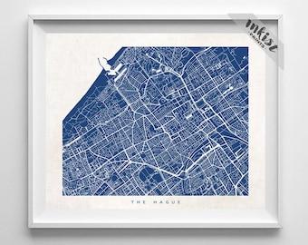 The Hague Map, Netherlands Print, The Hague Poster, Netherlands Art, Decor Idea, Giclee Print, Nursery Wall Decor, 4th of July