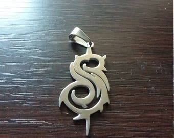 MIP-SLIPKNOT Maggot  design Polished Stainless Steel pendant w/30 inch ball chain