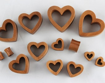 Heart wood tunnels - wooden heart tunnel plugs for stretched ears - heart shaped gauge made from sawo wood - one pair 6mm - 30mm - PA46