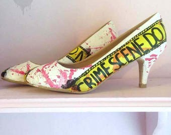 Victim by Toxic Heart Designs! Handpainted crime scene investigation shoes with blood spatter and finger print detailing / Horror - Blood.