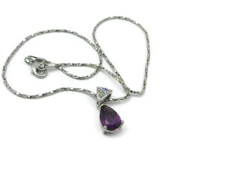 Purple Rhinestone Signed Avon NR Pendant Silver Tone Necklace Designer Signed 16 Inches Long Vintage Costume Jewelry