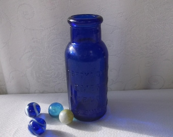 Antique Cobalt Blue Old Medicine Apothecary Bottle from Baltimore MD, 1920s Cure Bottle, Quackery, Bromo Seltzer, Great Condition