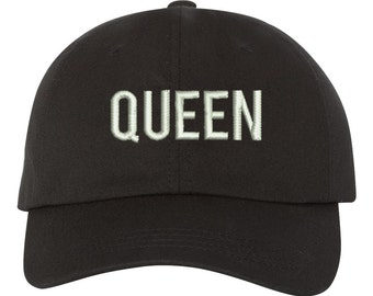 QUEEN Dad Hat , Baseball Hat , Low Profile Embroidered Baseball Cap, Dad Hats, Black