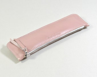 Handmade LeadorDead Pink Leather Pencil Case