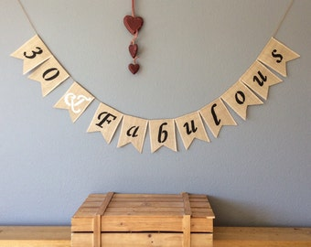 30th Birthday Bunting Banner Hessian Burlap Rustic