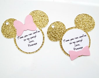 Minnie Mouse  and Mickey Gold Glitter and Pink Thank you Tags - Party Bags -