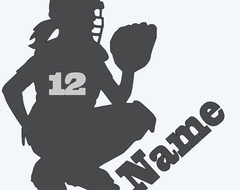 softball - auto Decals - sports auto Decal - softball catcher auto decal - softball window decal - window deal - sports window decal
