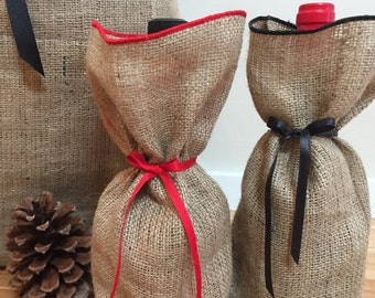 Burlap Wine Bags - SELECT A COLOR for Ribon/Tie and Finish - Custom Orders Are Welcome