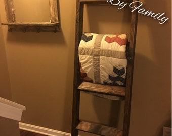 Solid Wood Quilt Blanket Ladder Towel Rack in Dark Walnut