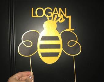 honey bee birthday cake topper