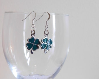 Cloverleaf Earrings - St. Patrick's Day Jewelry -  Four Leaf Clover - Dangle Earrings - Sterling Silver Filled - Ear Hooks