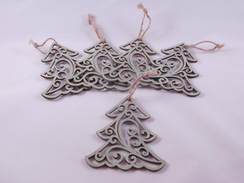 Christmas Tree Ornaments - Set of 5 - Rustic Ornaments - Home Decor