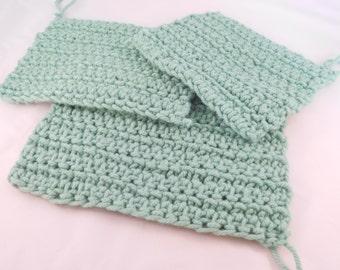 Mint Green Potholders - Handmade Crochet Hot Pads - Woolen Hot Pads - Set of 3