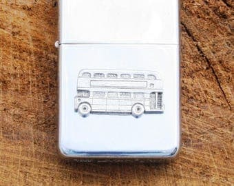 London Double Decker Bus  Windproof Petrol Lighter With Free Engraving transport enthusiasts Gift