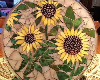 """14"""" Stained Glass Mosaic Plate-- Sunflowers"""