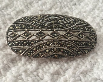 Marcasite Sterling Silver Oval Brooch, Marcasite Oval Pin, Marcasite Jewelry, Vintage Marcasite, Sterling Silver Brooch, Silver Oval Pin