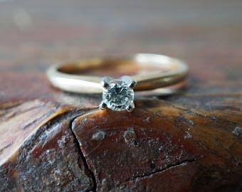 """1960s Vintage Solitaire 4 Prong Diamond """"Stylecrest"""" Engagement Ring in 14K Yellow Gold"""