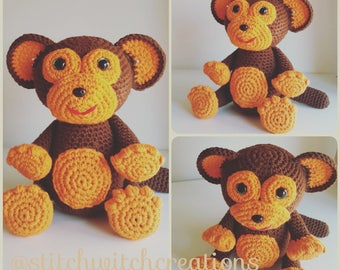 MARSHALL THE MONKEY - Crochet Pattern - Amigurumi Pdf instant download