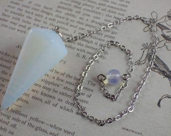 Opalite Gemstone Pendulum, 37x18mm, Opalite Pendant, Semi Precious Gemstone Loose Stone, Jewellery Making Supplies, UK Seller