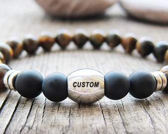 Mens Personalized Bracelet men's Tiger eye bracelet Custom Bracelet Mens gift Boyfriend Gift for men Gift for husband best gift for brother