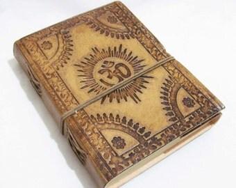 OM- Vintage Look Embossed Handmade Leather  Diary- Travel Sketchbook Journal Notebook
