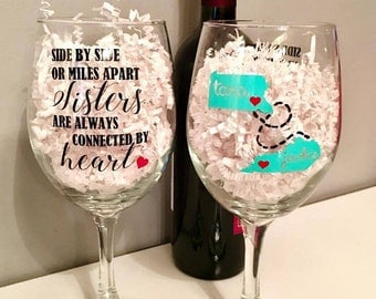 Side by Side or Miles Apart Wine Glass/Wine Glass Set/States/Sisters/Personalized/Customized/Gift for Her/Long Distance
