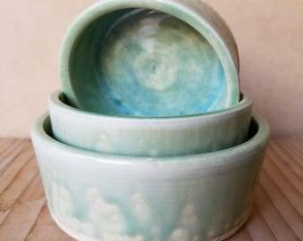 Ceramic Nesting Bowls, Ramekins, Dip Bowls, Set of 3, Handmade Pottery, Cone 6 B30031
