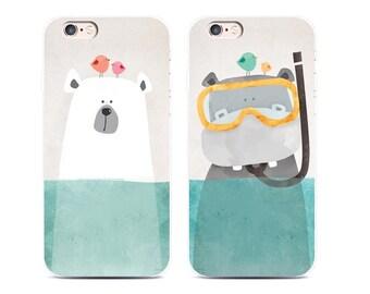 CUTE iPhone 7 Rubber Case, iPhone 6s Case, Clear Case, iPhone Cases, iPhone 7 Case, iPhone 7 Plus Case, Animal Art Case, Cute Case