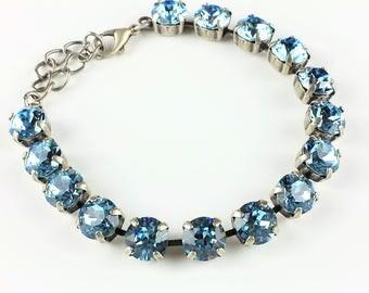 Swarovski Aquamarine Crystal Bracelet Swarovski Crystal Tennis Bracelet Swarovski Crystal Bracelet Blue Crystal Swarovski Bracelet